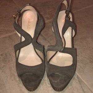 Prada Shoes - PRADA Suede Strappy Stacked Heel Slingback